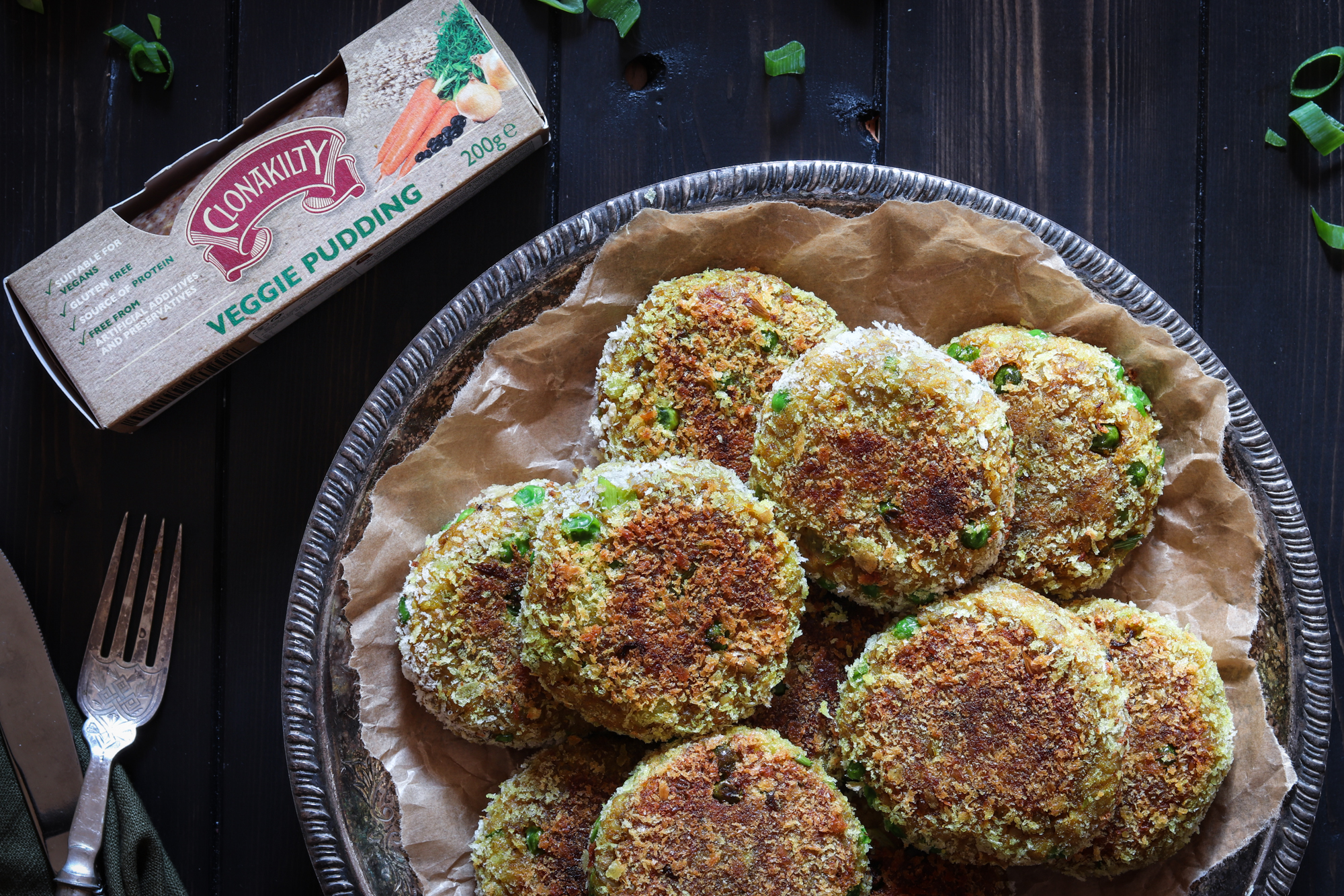 Indian spiced Clonakilty veggie pudding cutlets