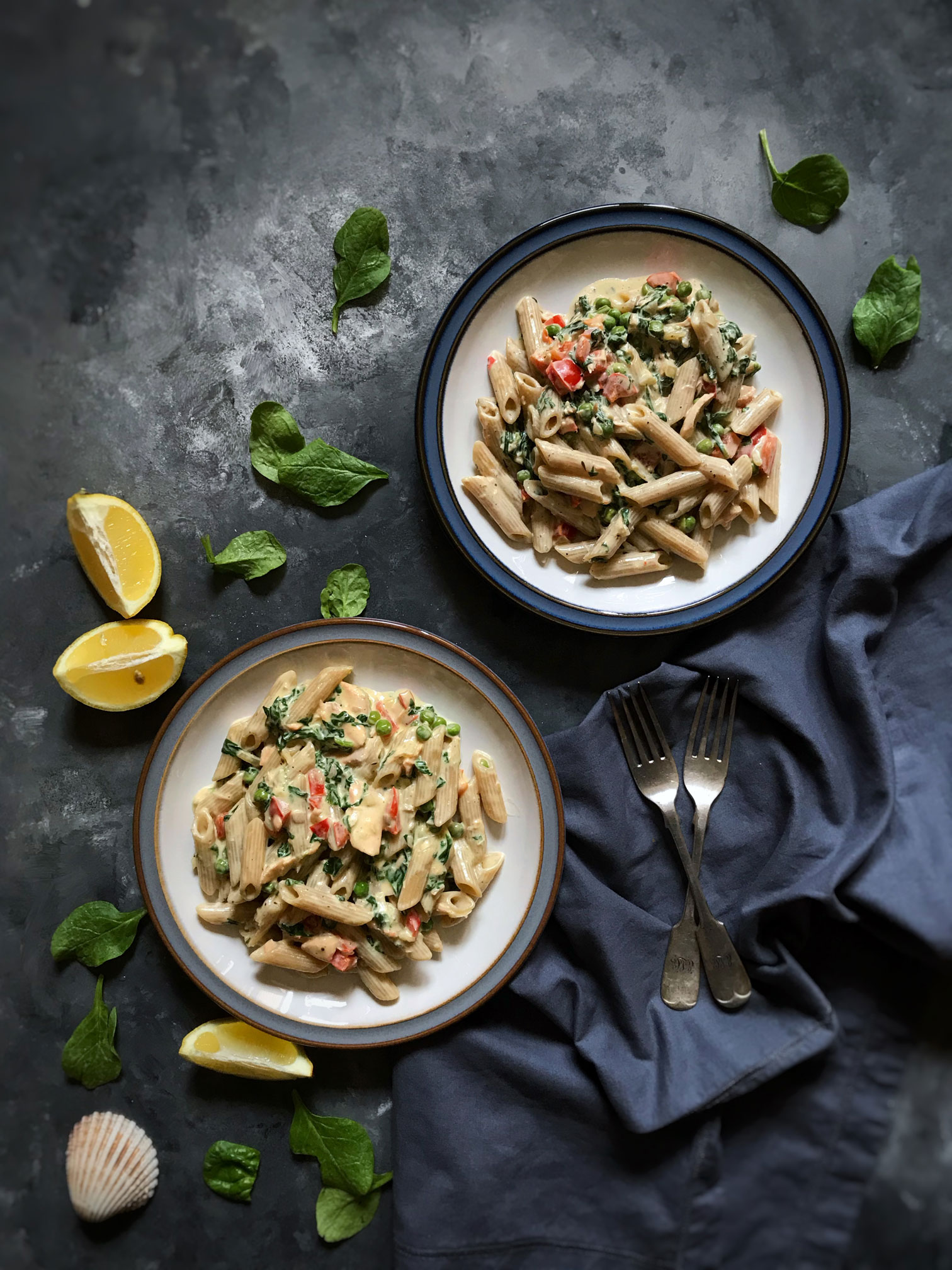 salmon wholewheat pasta diary free
