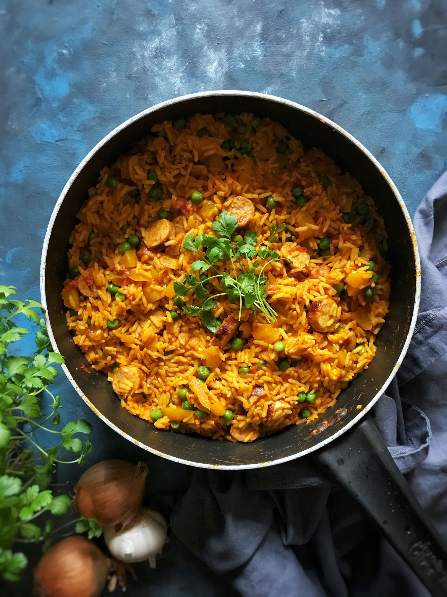 Indian spiced turkey sausage rice meal