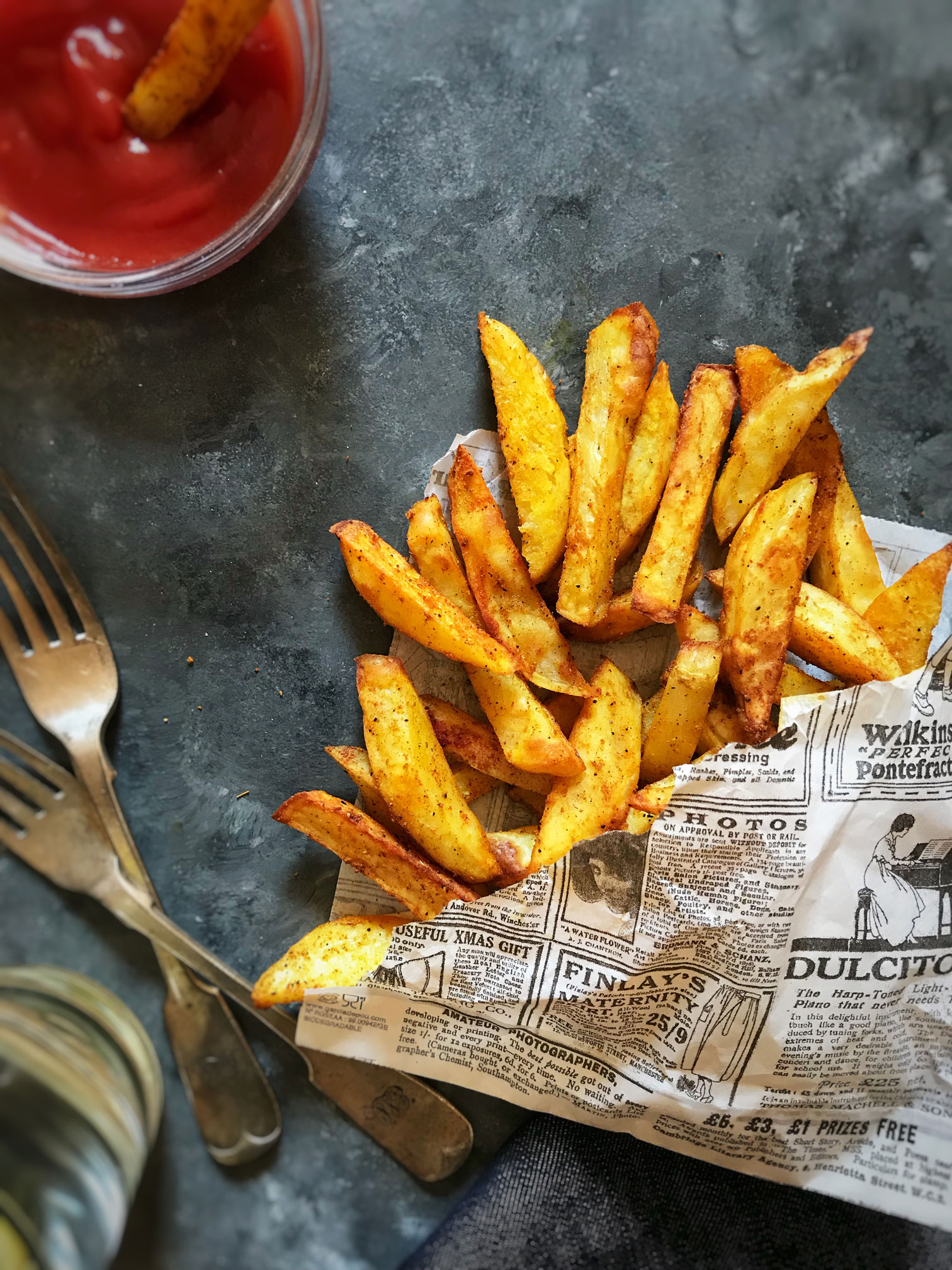 Oven baked spicy fries