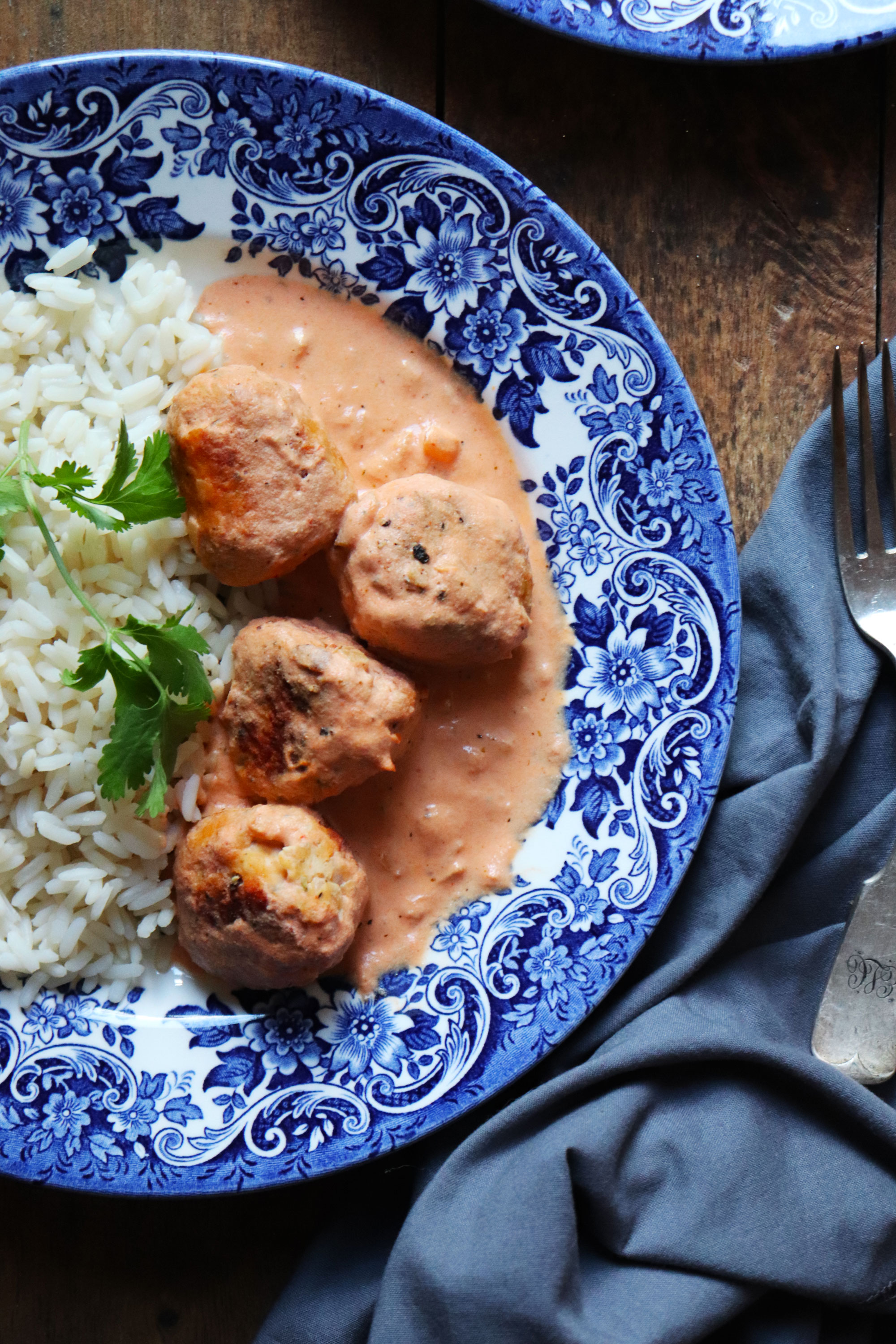 Skillet Chicken Meatballs in a creamy tomato and almond sauce