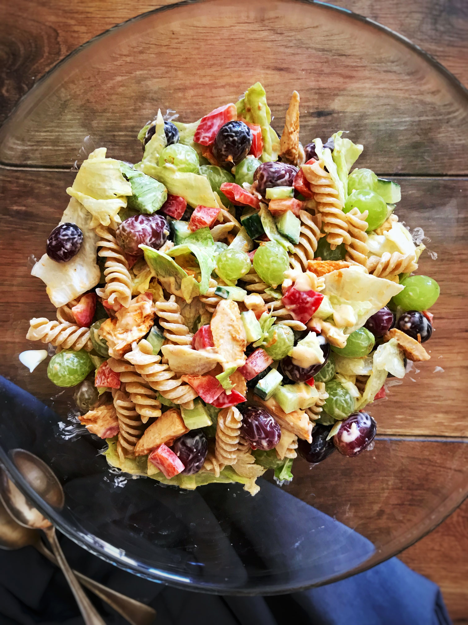 Indian spiced chicken and pasta salad
