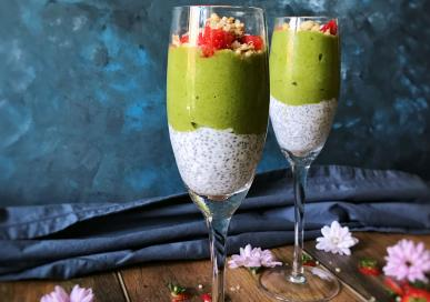 Matcha nice cream with Chia Pudding