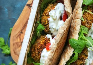 Falafel with wholewheat pitas