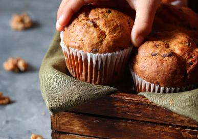Banana walnut and dark chocolate chip muffins