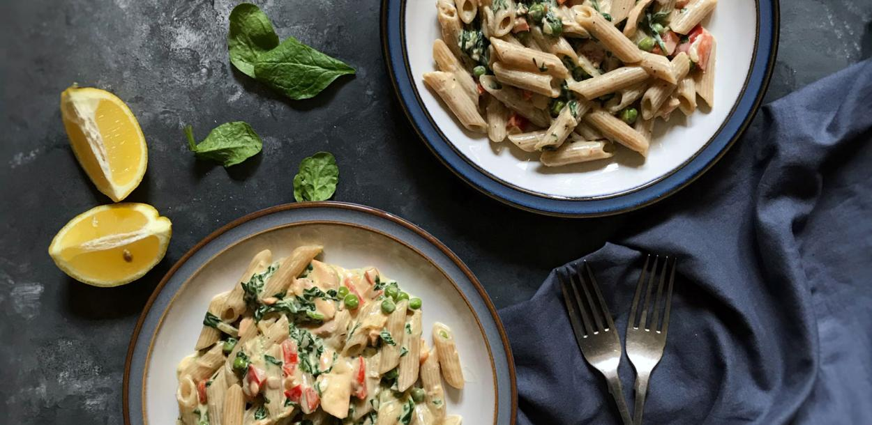 Salmon wholewheat pasta diary freee