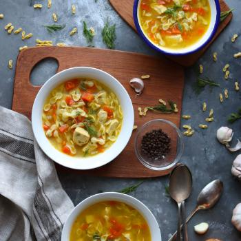 Chicken and veggies pasta soup
